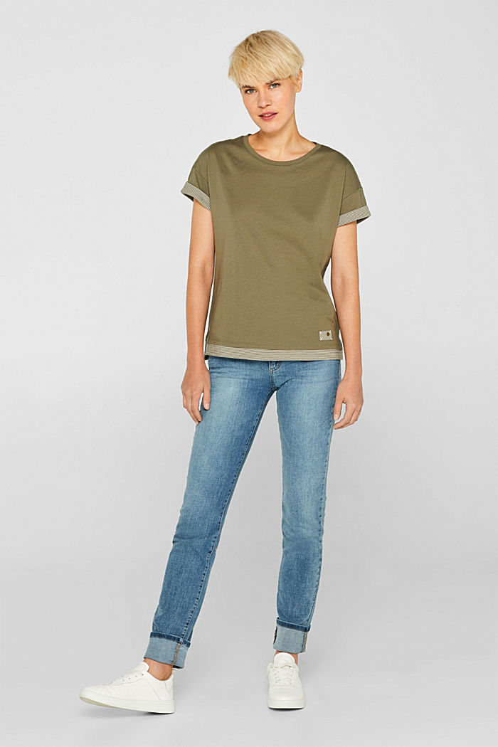 T-shirt with striped accents, 100% cotton, KHAKI GREEN, detail image number 1