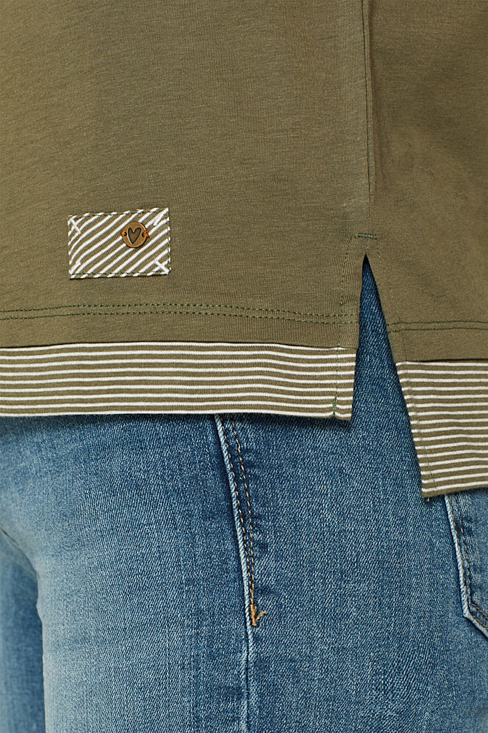 T-shirt with striped accents, 100% cotton, KHAKI GREEN, detail image number 2