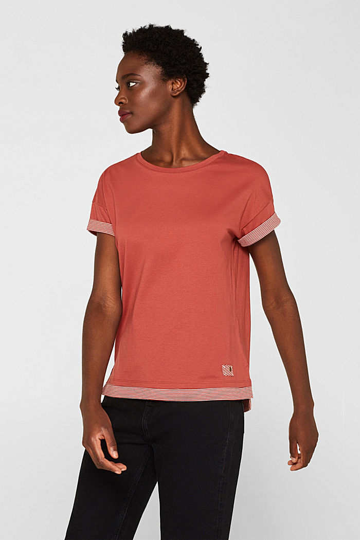 T-shirt with striped accents, 100% cotton, RUST ORANGE, detail image number 0