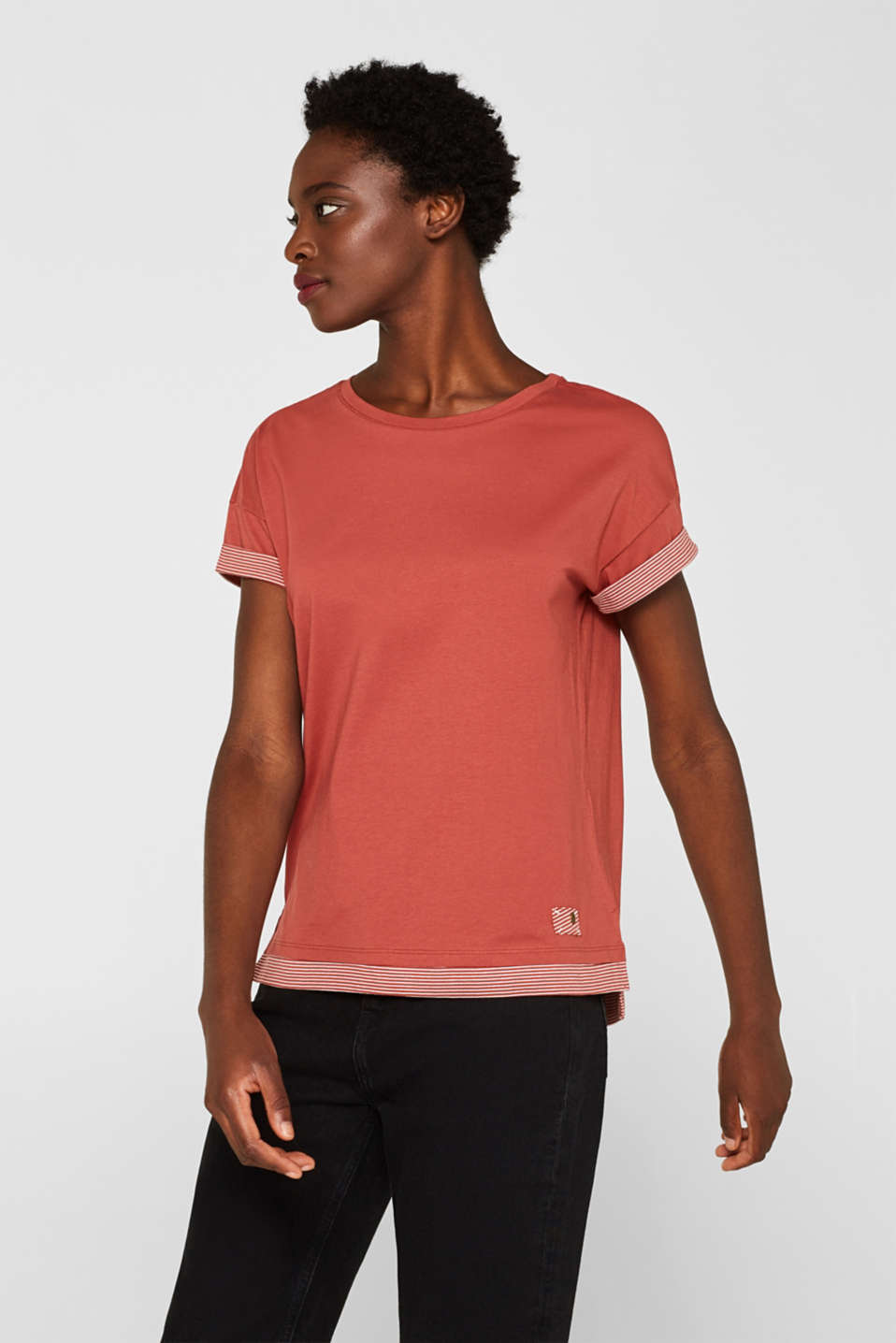 edc - T-shirt with striped accents, 100% cotton