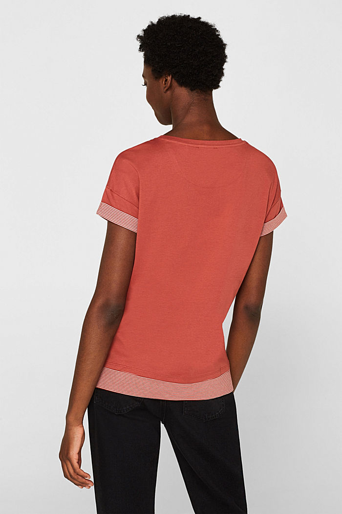 T-shirt with striped accents, 100% cotton, RUST ORANGE, detail image number 3