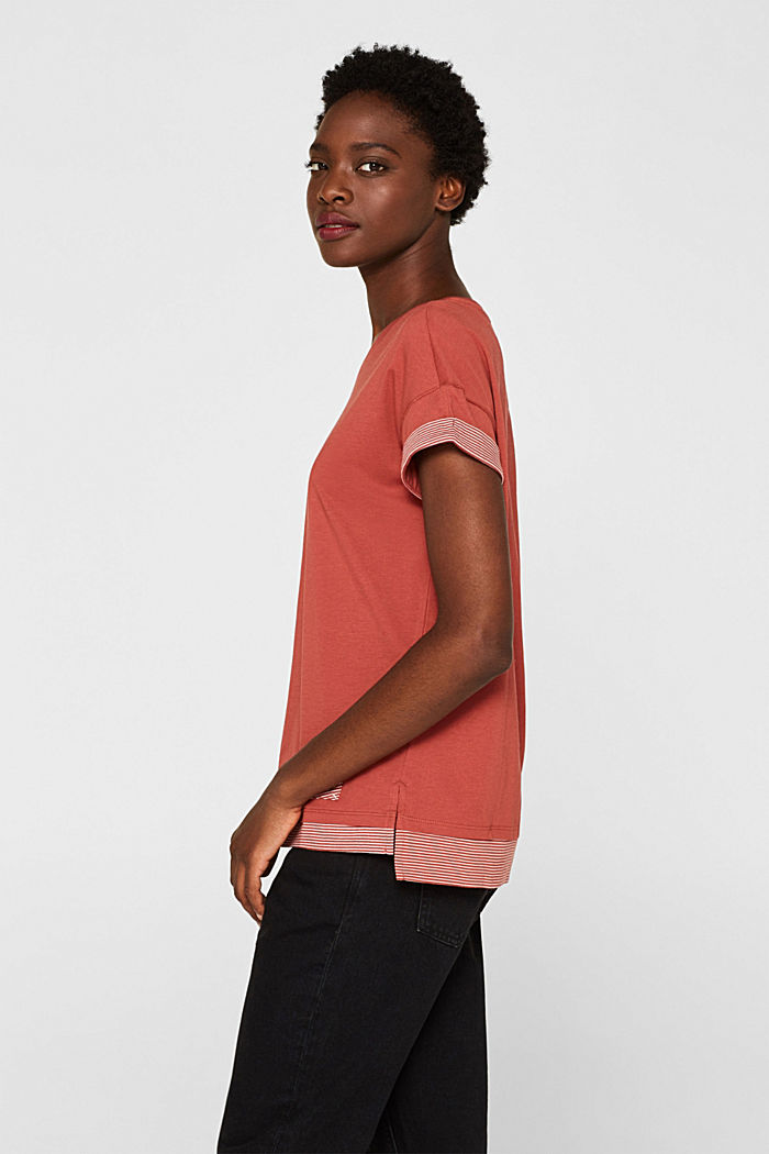 T-shirt with striped accents, 100% cotton, RUST ORANGE, detail image number 5