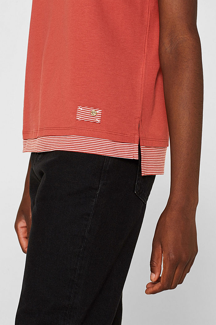 T-shirt with striped accents, 100% cotton, RUST ORANGE, detail image number 2