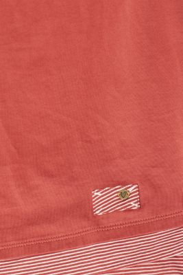 T-shirt with striped accents, 100% cotton, RUST ORANGE, detail