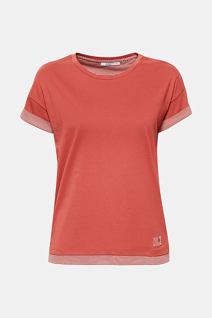 T-shirt with striped accents, 100% cotton, RUST ORANGE, detail image number 6