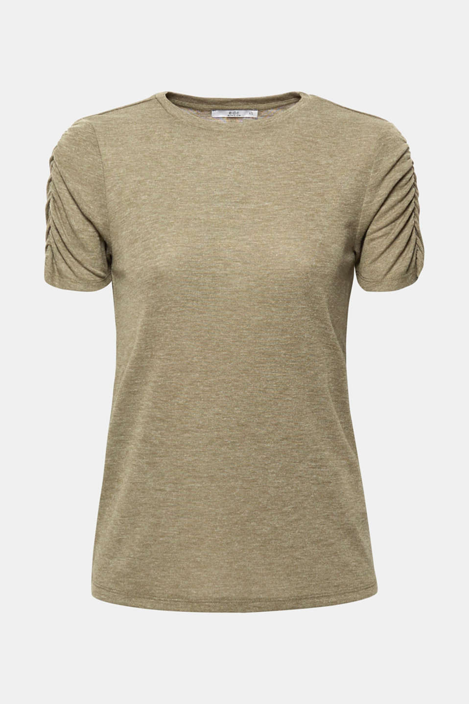 T-shirt with gathered sleeves, KHAKI GREEN 5, detail image number 5
