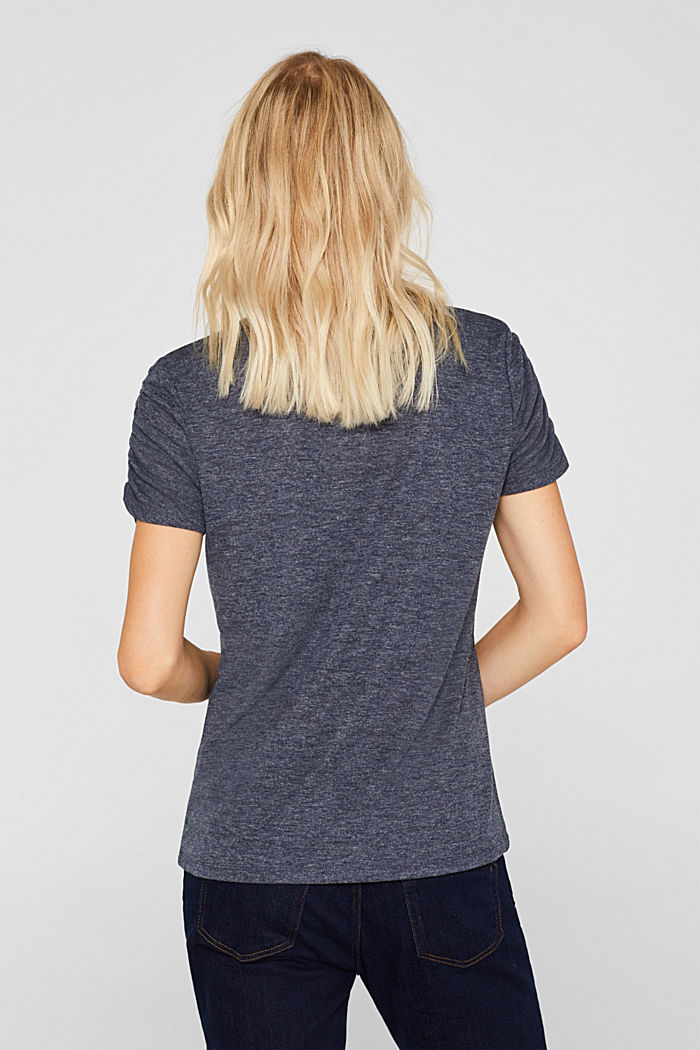 T-shirt with gathered sleeves, NAVY, detail image number 3