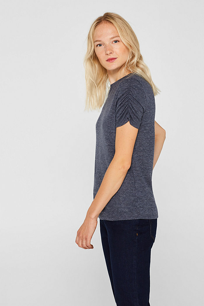 T-shirt with gathered sleeves, NAVY, detail image number 6