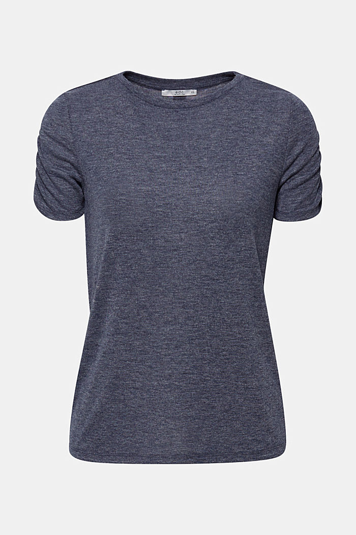 T-shirt with gathered sleeves, NAVY, detail image number 0