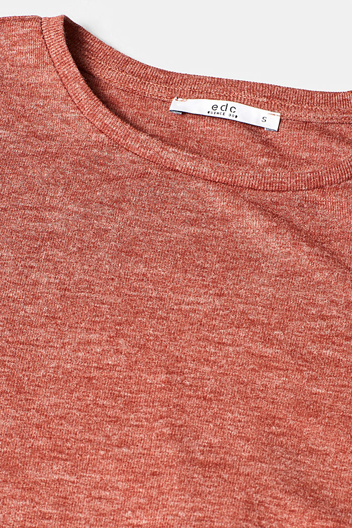 T-shirt with gathered sleeves, TERRACOTTA, detail image number 4