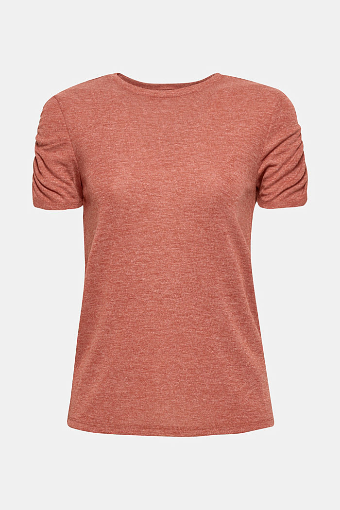 T-shirt with gathered sleeves, TERRACOTTA, detail image number 0
