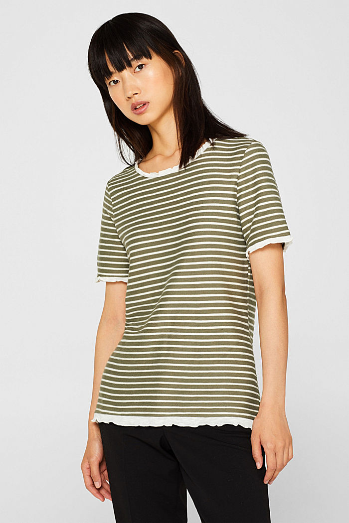 Striped top with frills, KHAKI GREEN, detail image number 0