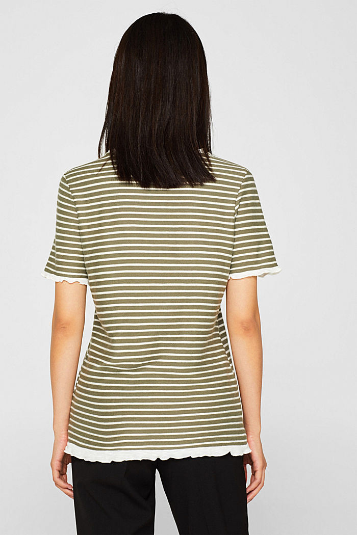 Striped top with frills, KHAKI GREEN, detail image number 3