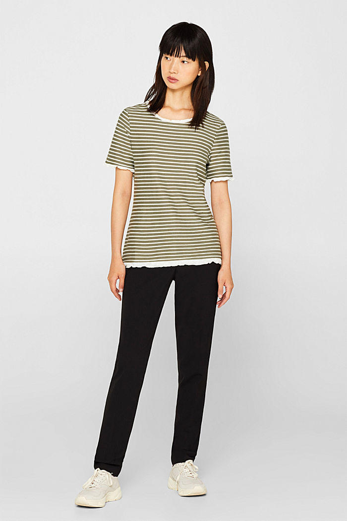 Striped top with frills, KHAKI GREEN, detail image number 1