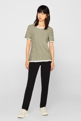 Striped top with frills, KHAKI GREEN, detail