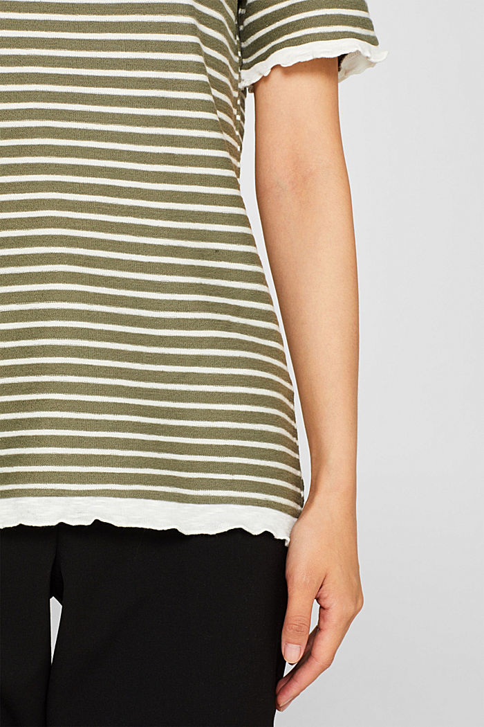 Striped top with frills, KHAKI GREEN, detail image number 2
