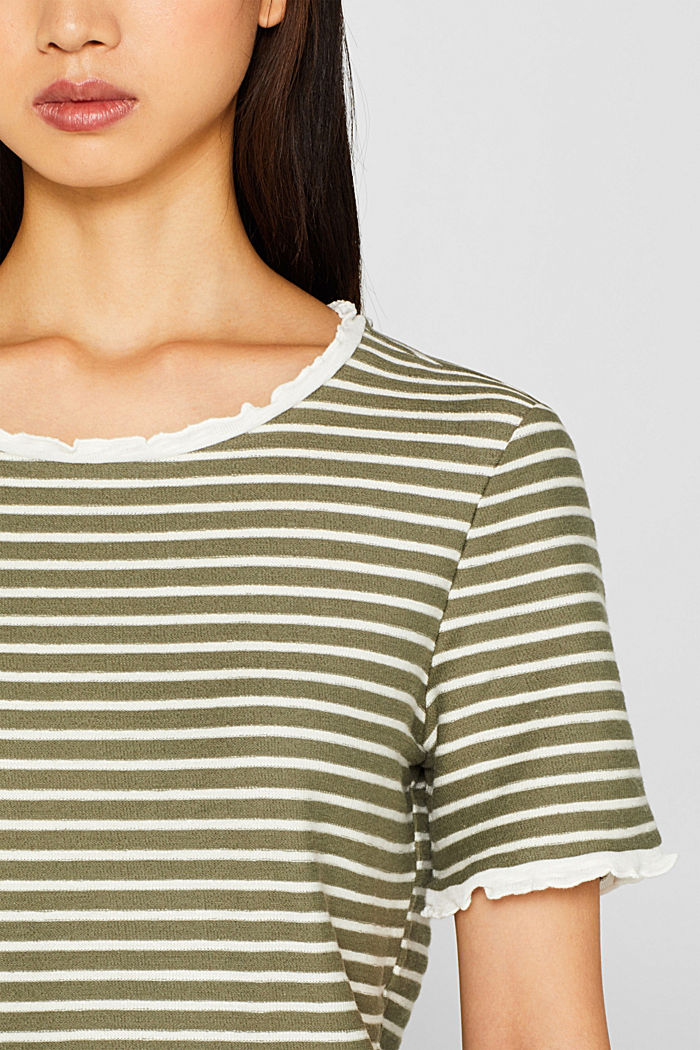 Striped top with frills, KHAKI GREEN, detail image number 5
