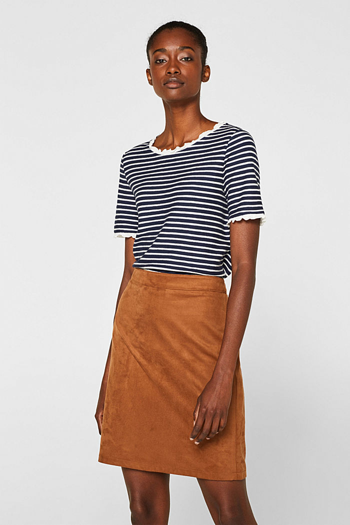 Striped top with frills, NAVY, detail image number 0