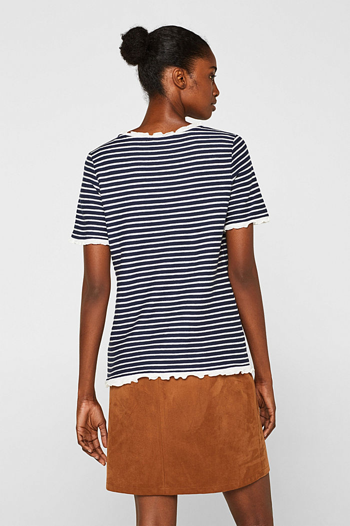 Striped top with frills, NAVY, detail image number 3