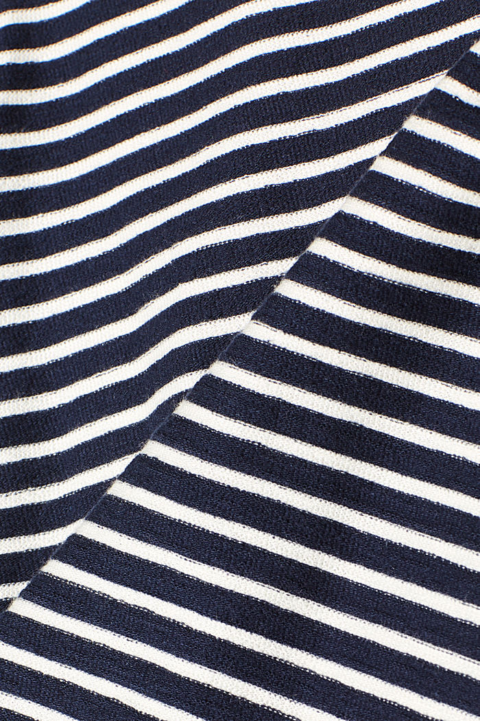Striped top with frills, NAVY, detail image number 4