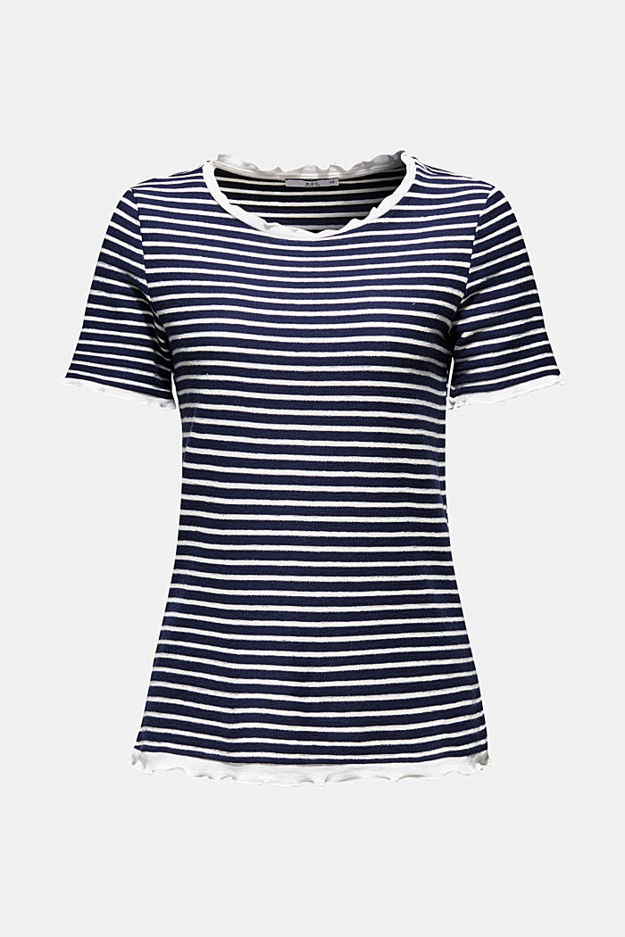 Striped top with frills, NAVY, detail image number 7