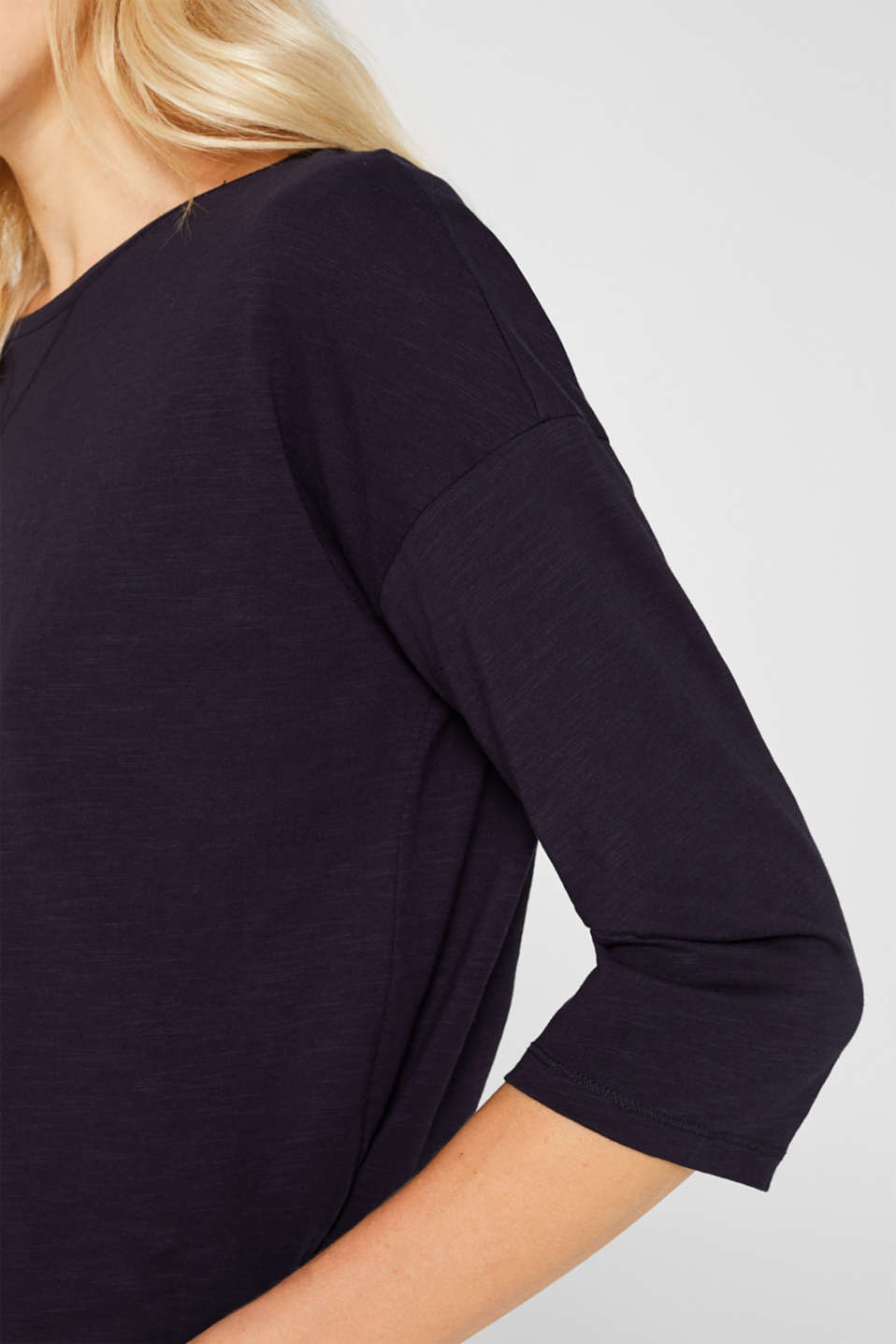 Slub top with organic cotton, NAVY, detail image number 2