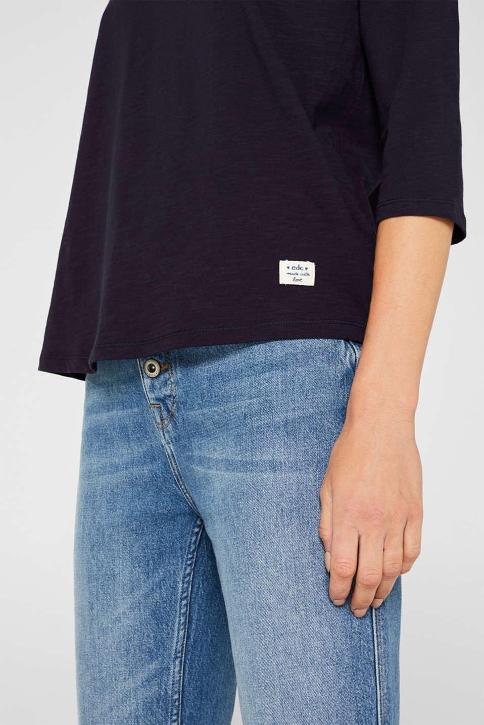 Slub top with organic cotton, NAVY, detail image number 5
