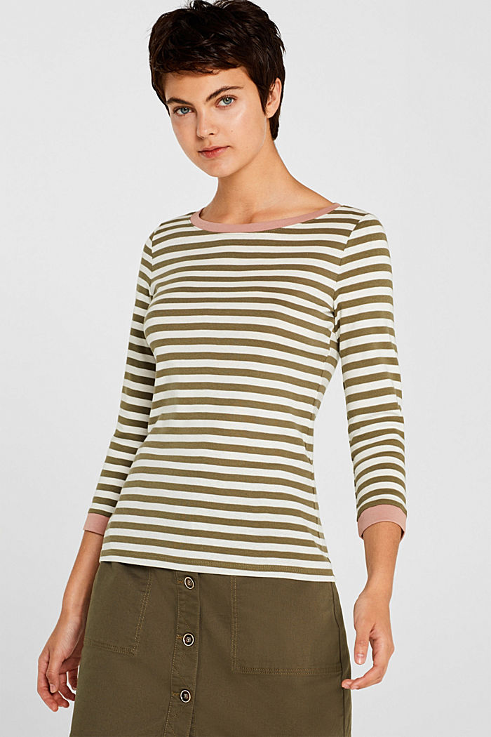 Long sleeve top with contrasting details, 100% cotton, KHAKI GREEN, detail image number 0