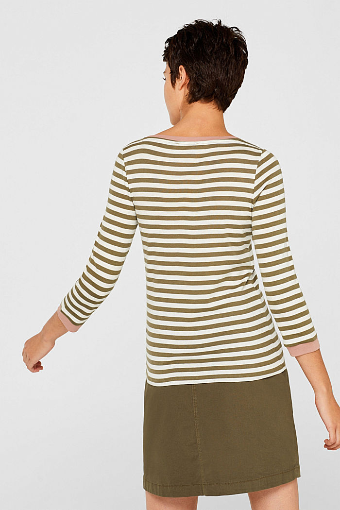 Long sleeve top with contrasting details, 100% cotton, KHAKI GREEN, detail image number 3