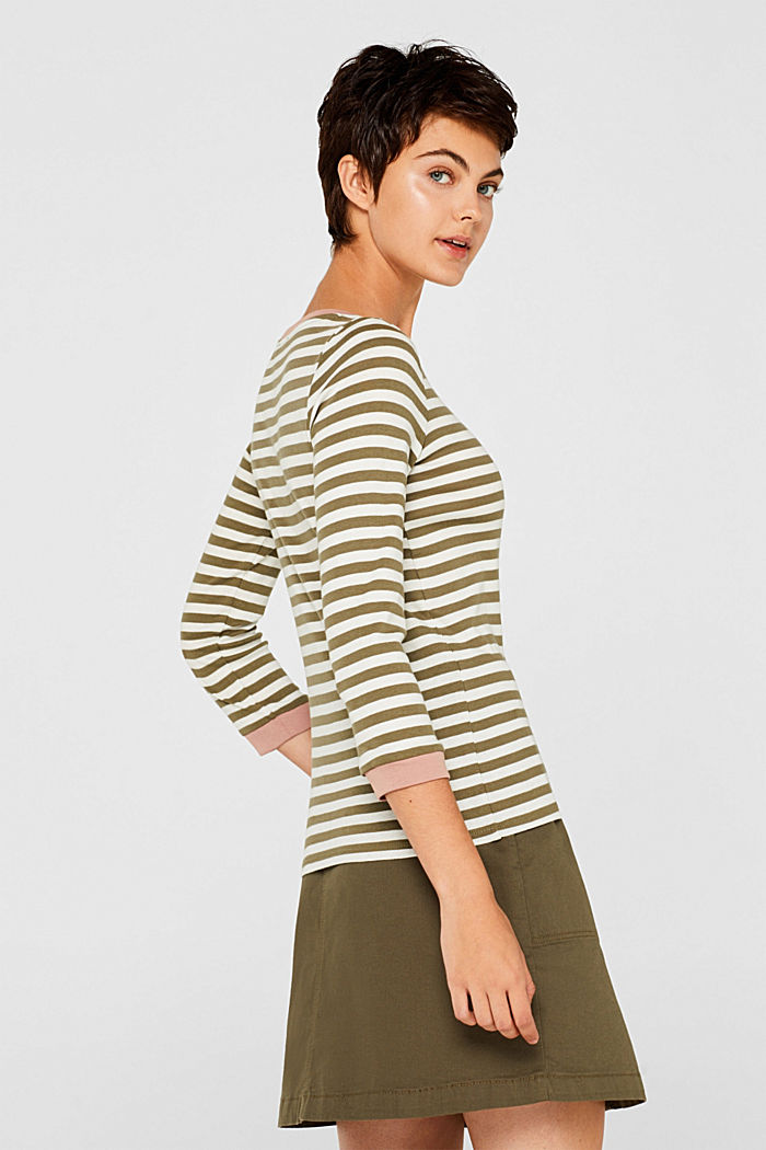 Long sleeve top with contrasting details, 100% cotton, KHAKI GREEN, detail image number 5