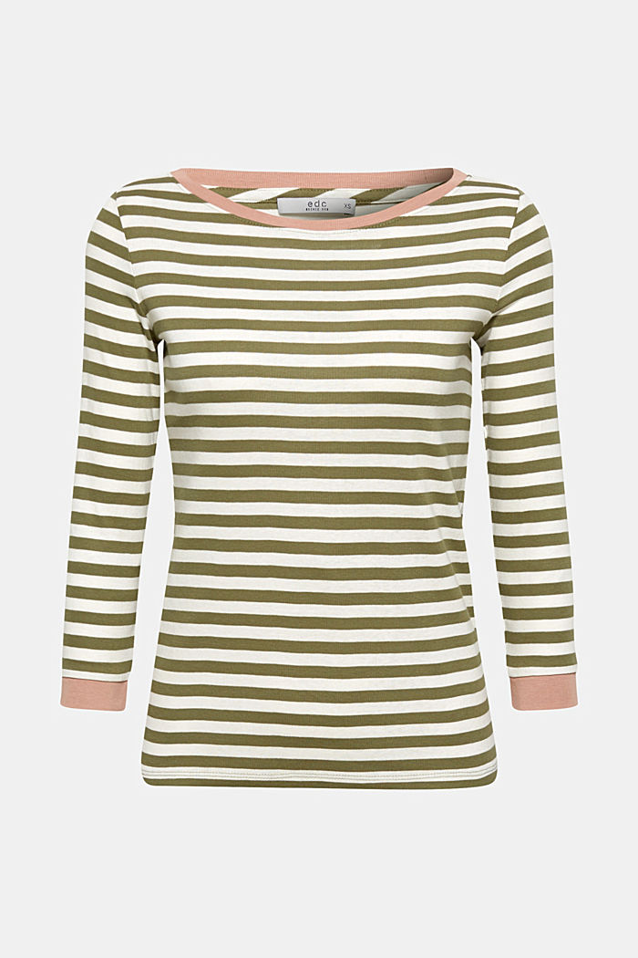 Long sleeve top with contrasting details, 100% cotton, KHAKI GREEN, detail image number 6