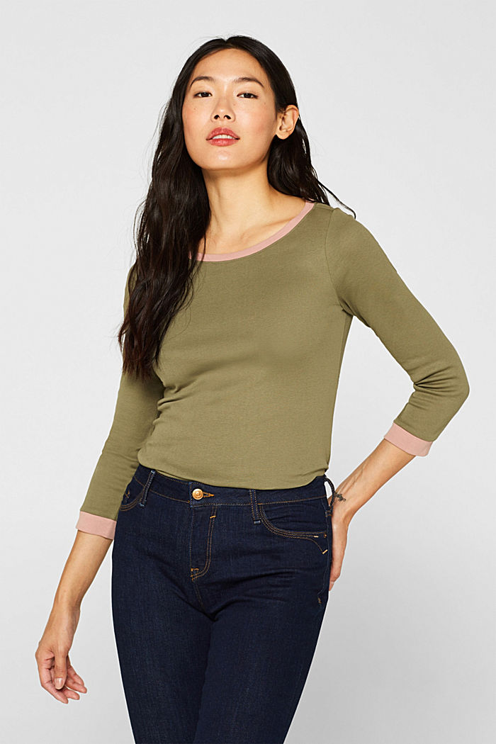 Long sleeve top with contrasting details, 100% cotton, NEW KHAKI GREEN, detail image number 0