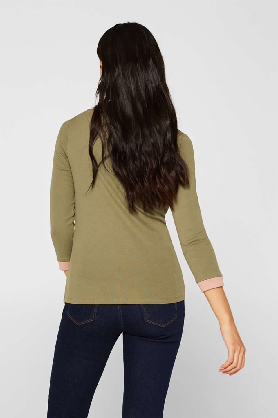 Long sleeve top with contrasting details, 100% cotton, KHAKI GREEN 2, detail image number 3