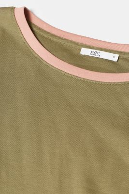 Long sleeve top with contrasting details, 100% cotton, KHAKI GREEN 2, detail