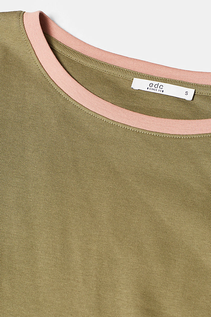Long sleeve top with contrasting details, 100% cotton, NEW KHAKI GREEN, detail image number 4