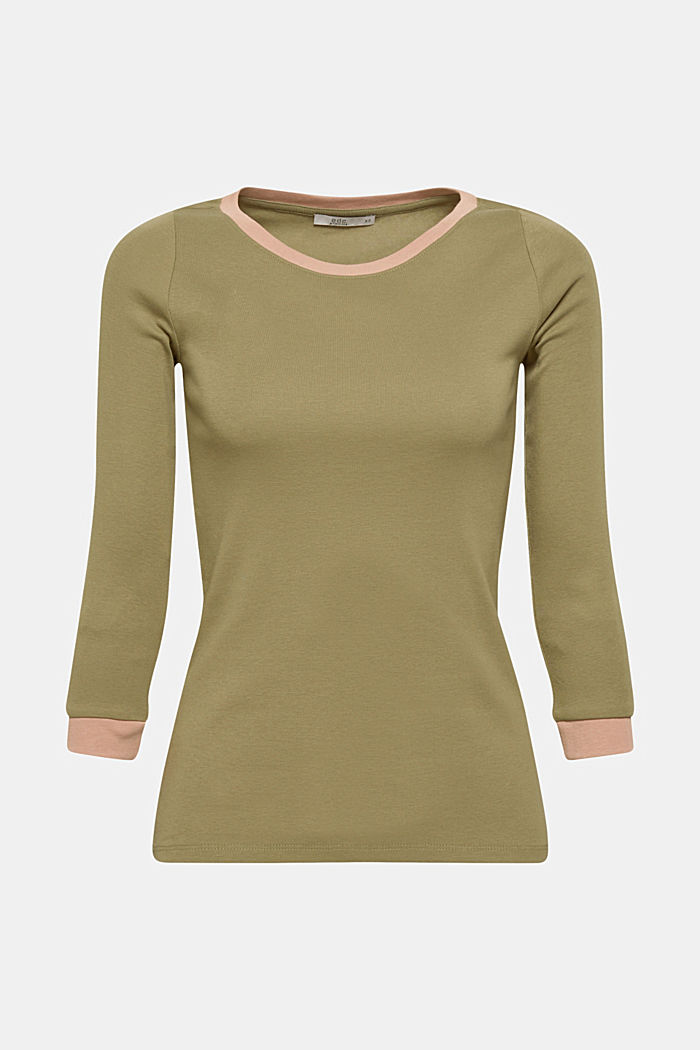Long sleeve top with contrasting details, 100% cotton, NEW KHAKI GREEN, detail image number 5