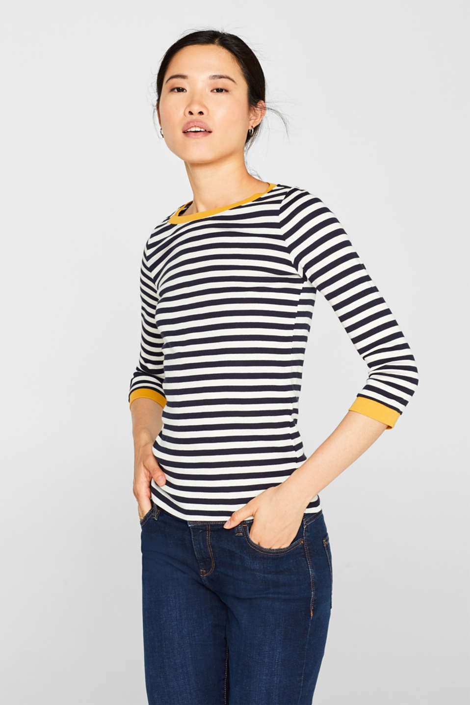 edc - Long sleeve top with contrasting details, 100% cotton
