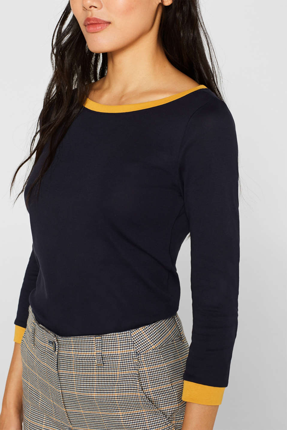 Long sleeve top with contrasting details, 100% cotton, NAVY 2, detail image number 2