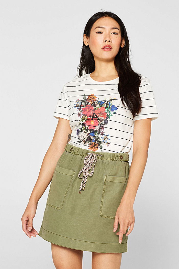 T-shirt with a flower print, 100% cotton, OFF WHITE, detail image number 0