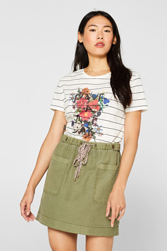 T-shirt with a flower print, 100% cotton