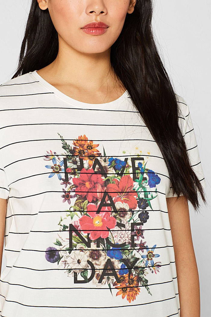 T-shirt with a flower print, 100% cotton, OFF WHITE, detail image number 2