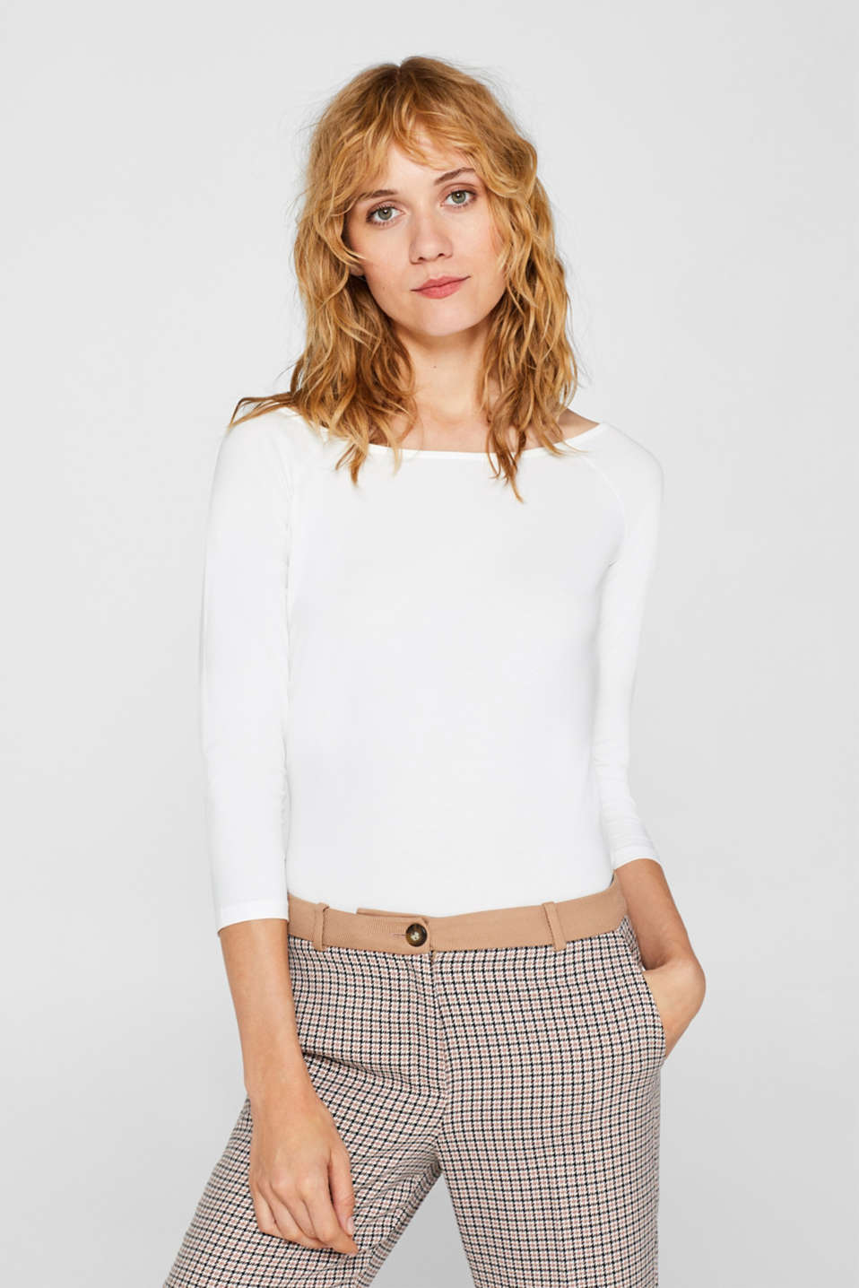 edc - Stretch long sleeve top with organic cotton