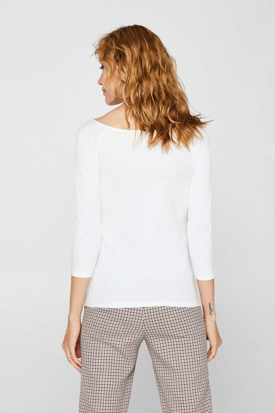 Stretch long sleeve top with organic cotton, OFF WHITE, detail image number 3