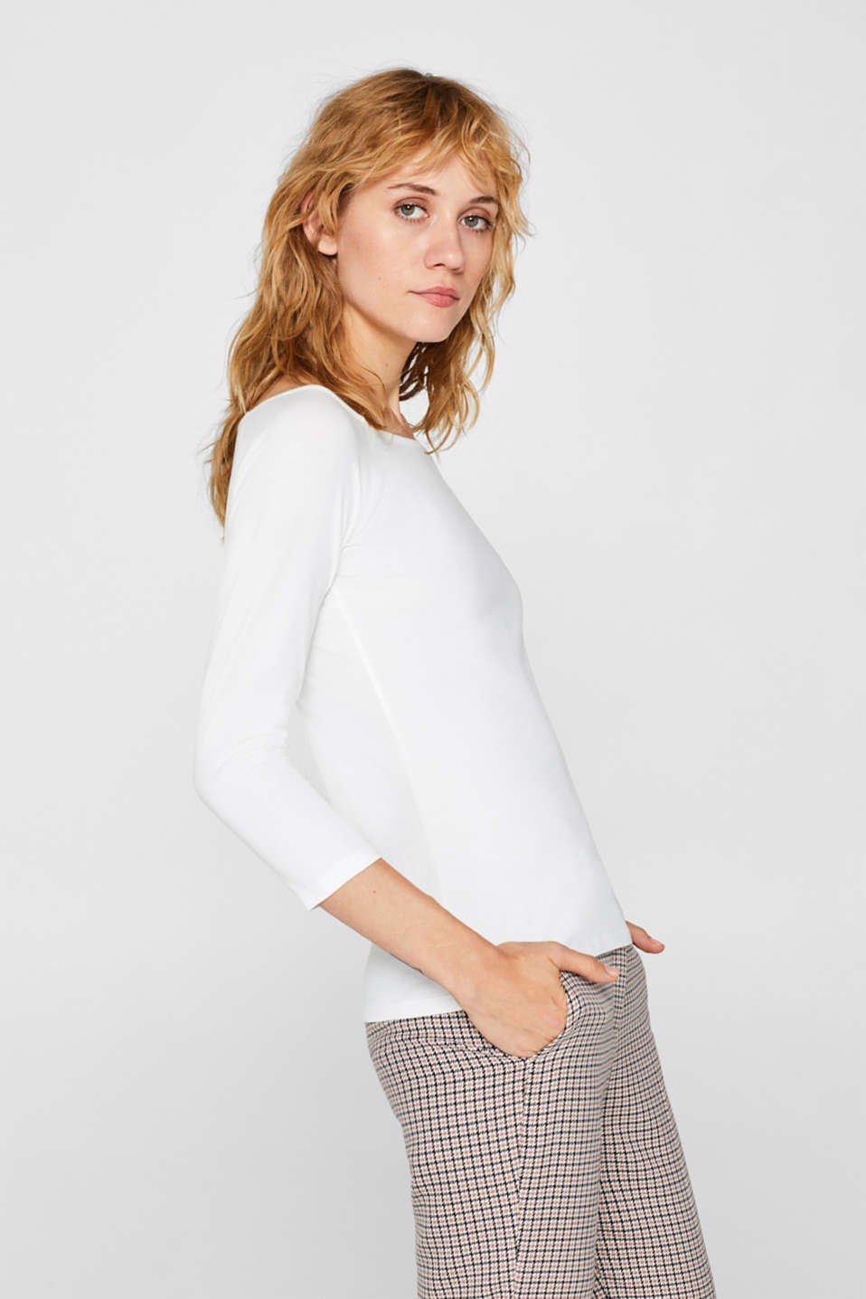 Stretch long sleeve top with organic cotton, OFF WHITE, detail image number 5