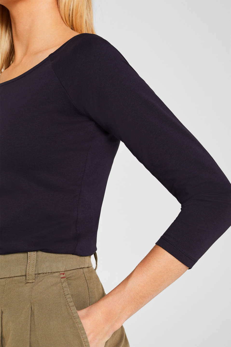 Stretch long sleeve top with organic cotton, NAVY, detail image number 5