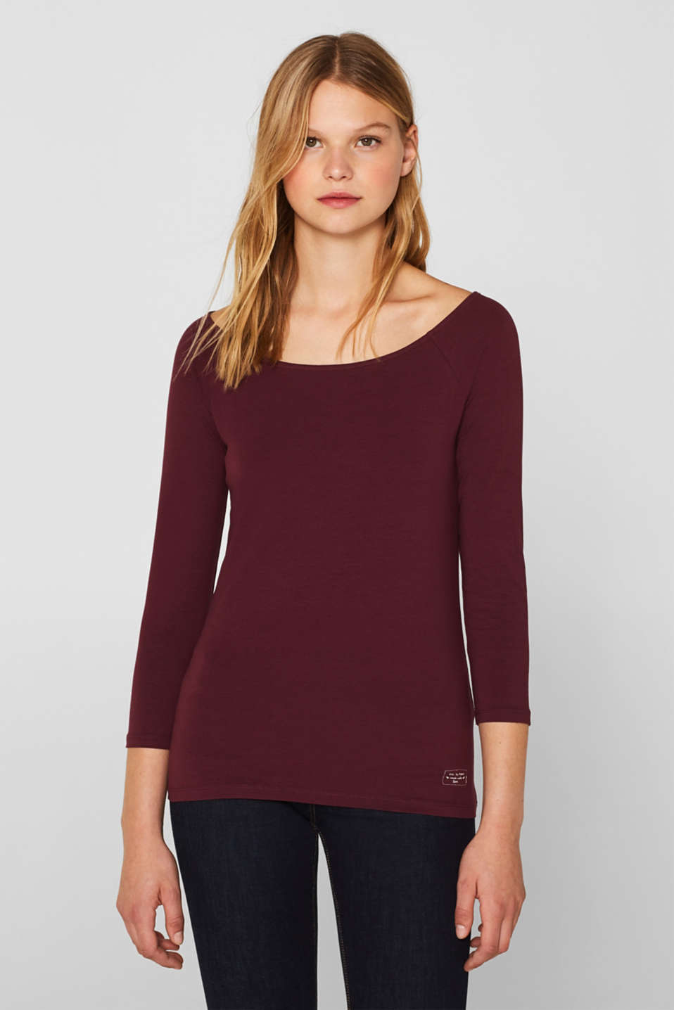 Stretch long sleeve top with organic cotton, BORDEAUX RED 4, detail image number 0