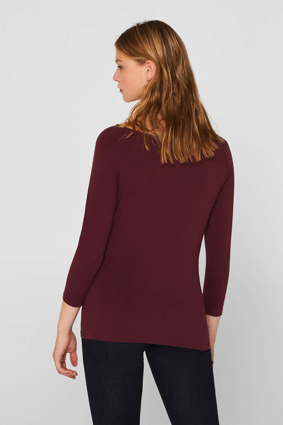 Stretch long sleeve top with organic cotton, BORDEAUX RED 4, detail image number 3