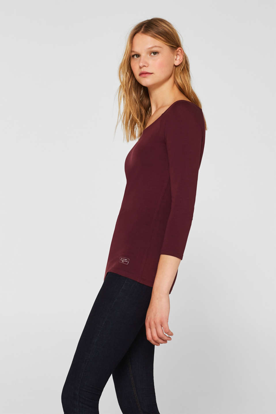 Stretch long sleeve top with organic cotton, BORDEAUX RED 4, detail image number 5