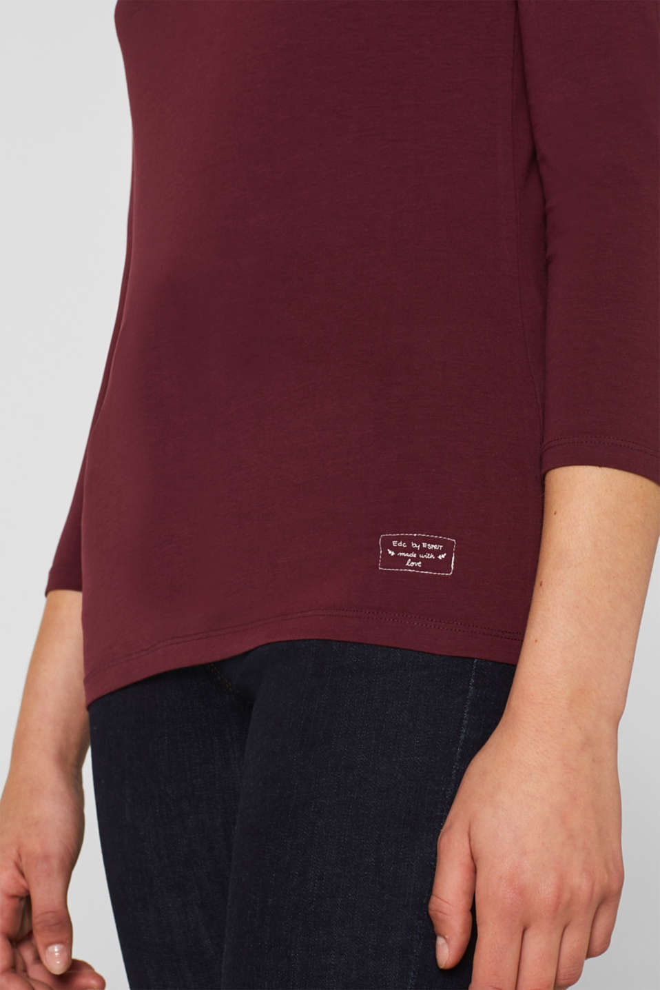 Stretch long sleeve top with organic cotton, BORDEAUX RED 4, detail image number 2