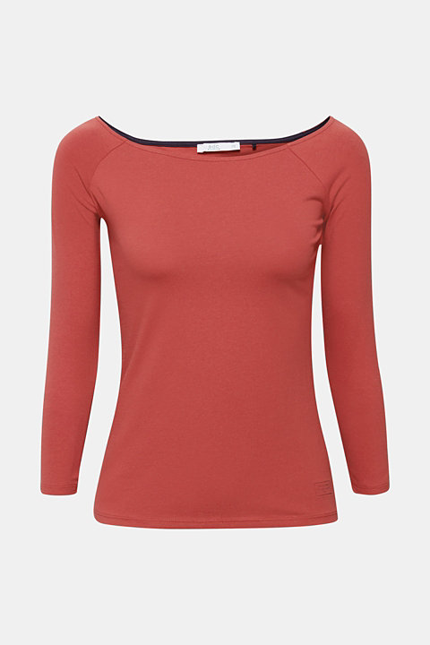 Stretch long sleeve top with organic cotton
